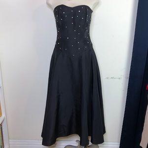 Vintage black satin Punk rock princess prom dress